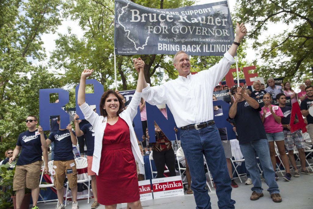 Republican gubernatorial candidate Bruce Rauner and Lt. Govenor candidate Evelyn Sanguinetti address supporters at the Illinois State Fair during Republican Day, Wednesday August 13, 2014 in Springfield. File Photo. | Jessica Koscielniak / Chicago Sun-Tim