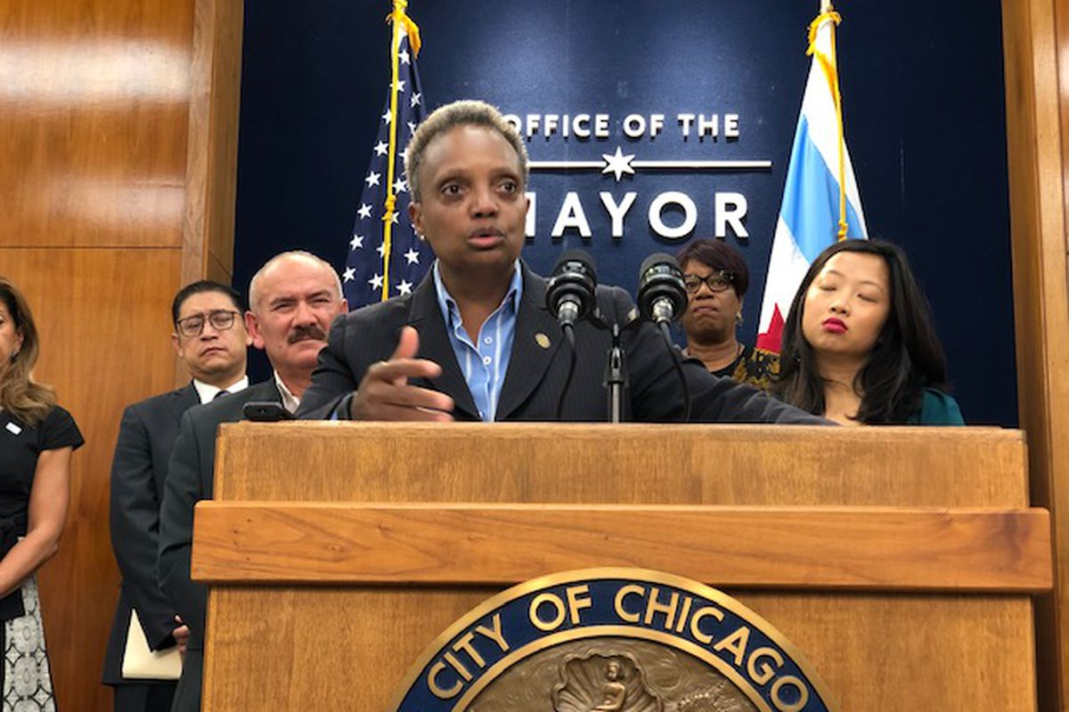 Mayor Lori Lightfoot holds a City Hall news conference Tuesday.