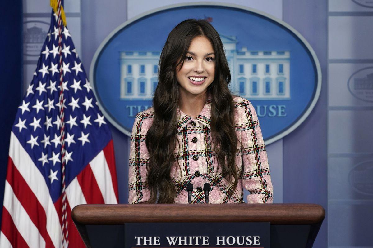 Teen pop star Olivia Rodrigo speaks at the White House.