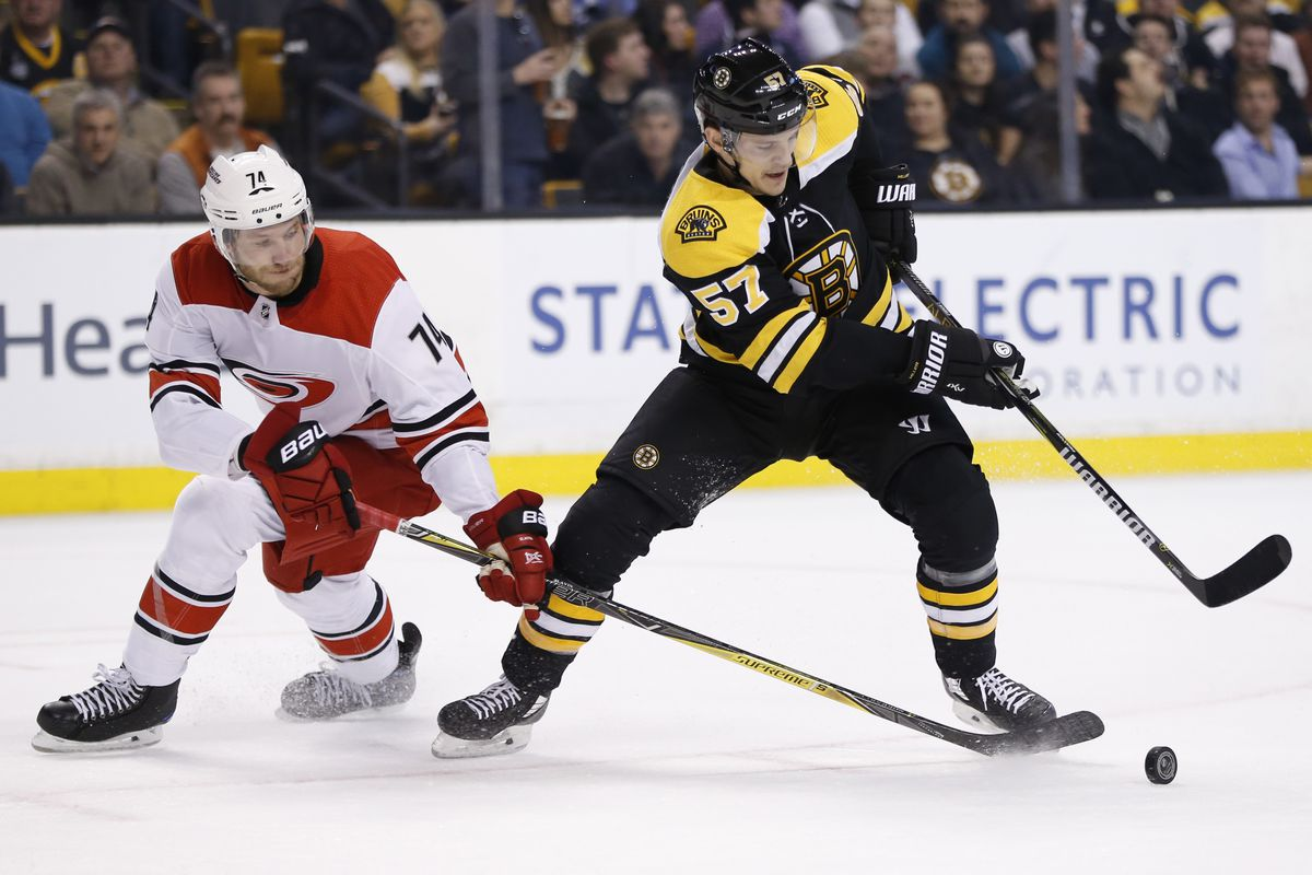 Feb 27, 2018; Boston, MA, USA; Carolina Hurricanes defenseman Jaccob Slavin (74) and Boston Bruins center Tommy Wingels (57) battle for the puck during the first period at TD Garden.
