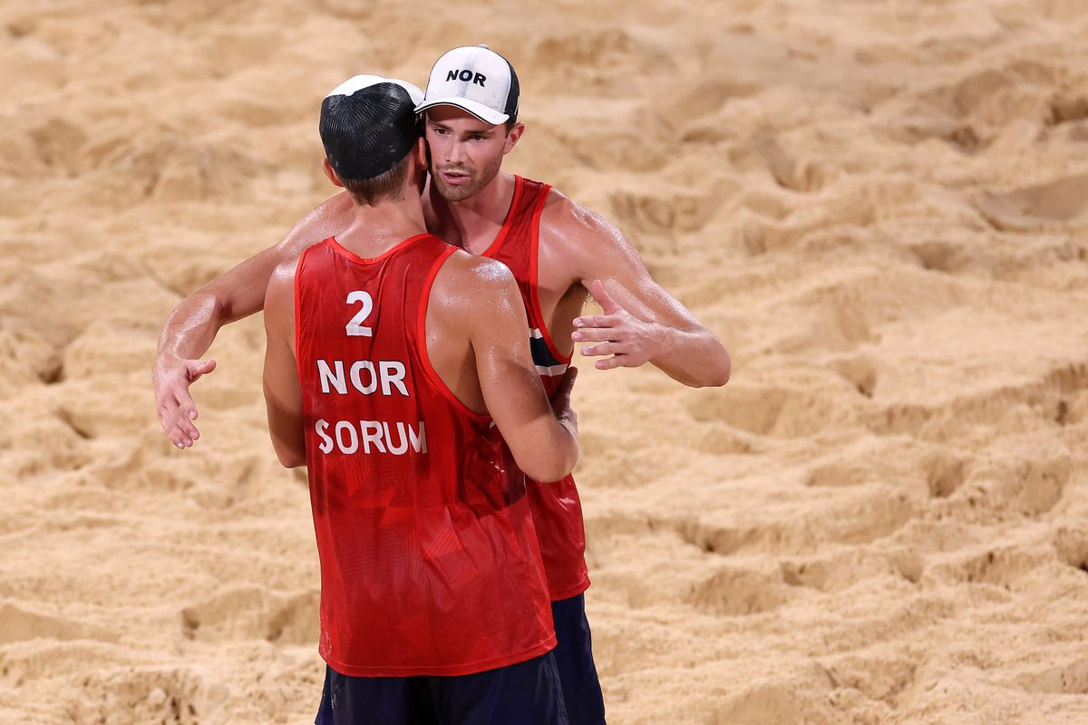 Anders Berntsen Mol and Christian Sandlie Sorum of Team Norway react after they defeated Team Latvia during Men's Semifinal beach volleyball on day thirteen of the Tokyo 2020 Olympic Games at Shiokaze Park on August 05, 2021 in Tokyo, Japan.