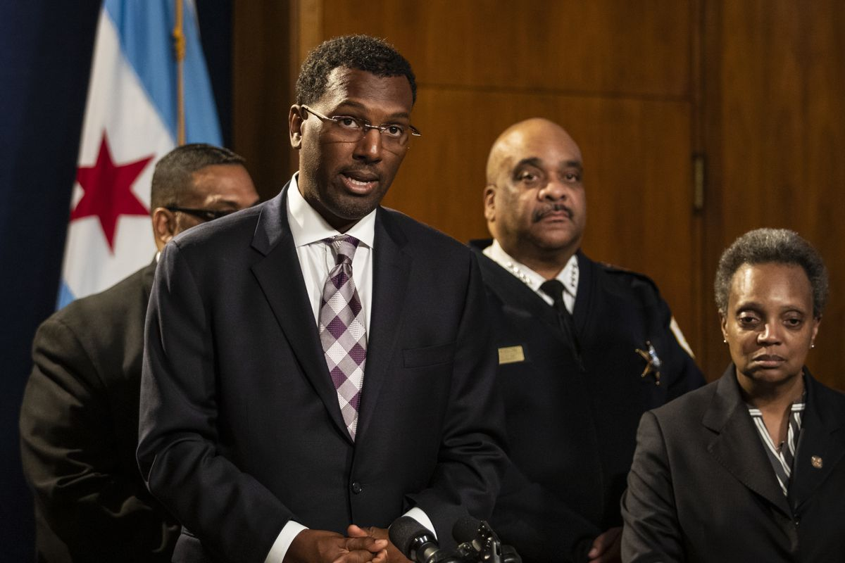 Chicago Police Board President Ghian Foreman speaks during a press conference at City Hall after it was announced that former Los Angeles Police Chief Charlie Beck would serve as interim police superintendent, Friday morning, Nov. 8, 2019.