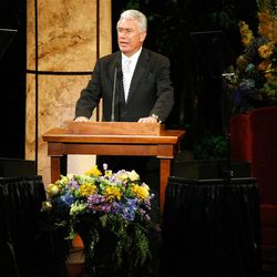 President Dieter F. Uchtdorf speaks during Golden Days, A Celebration of Life, in honor of President Thomas S. Monson's 85th birthday at the LDS Conference Center in Salt Lake City on Friday, Aug. 17, 2012.