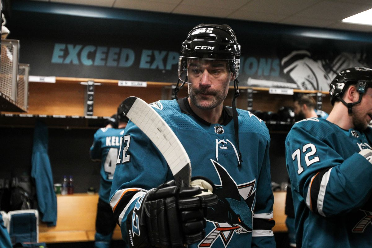 SAN JOSE, CA - FEBRUARY 17: Patrick Marleau #12 of the San Jose Sharks prepares to take the ice for warmups in the locker room against the Florida Panthers at SAP Center on February 17, 2020 in San Jose, California