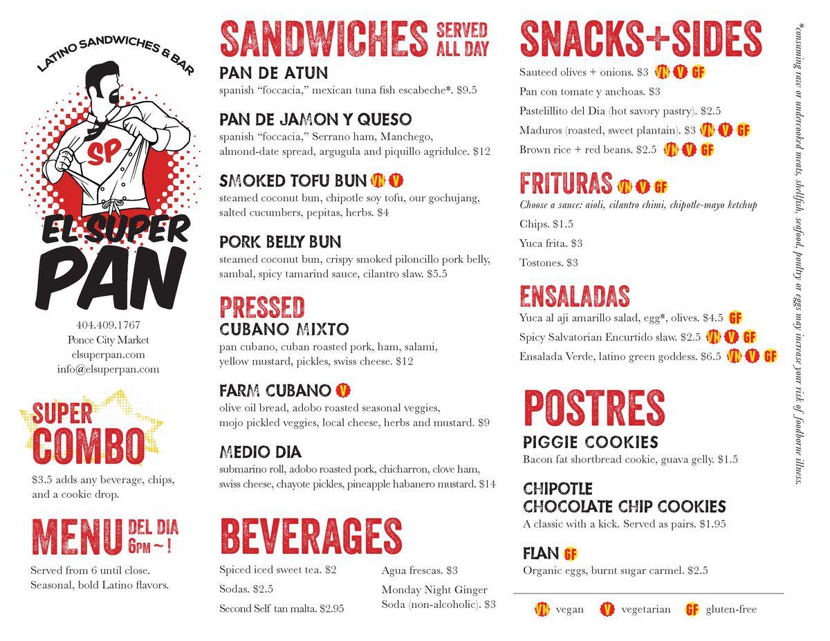 El Super Pan menu