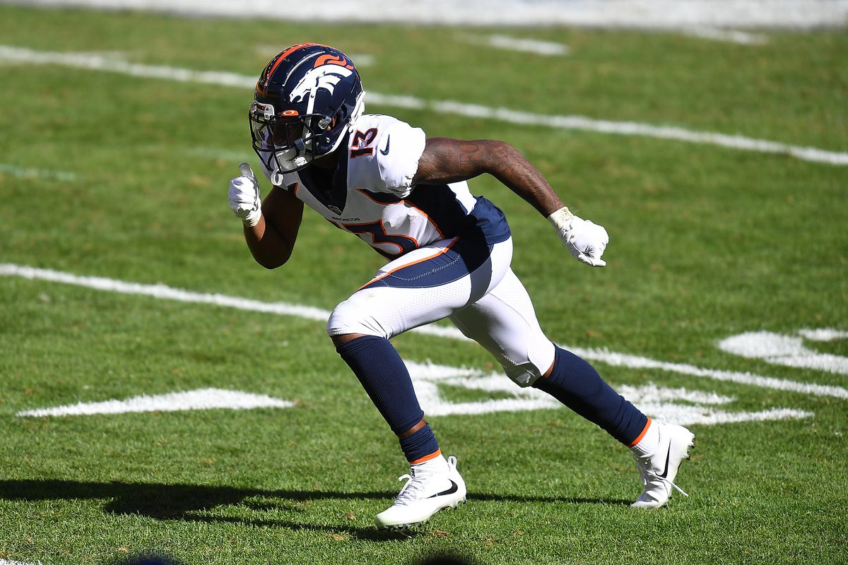 K.J. Hamler #13 of the Denver Broncos in action during the game against the Pittsburgh Steelers at Heinz Field on September 20, 2020 in Pittsburgh, Pennsylvania.