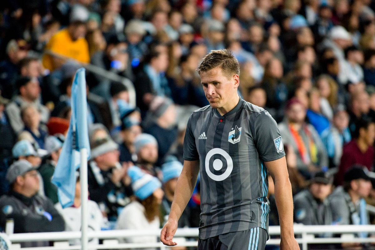 October 20, 2019 - Saint Paul, Minnesota, United States- Robin Lod exits the field after an Audi MLS Cup Playoff match between Minnesota United and The Los Angeles Galaxy at Allianz Field (Photo: Tim C McLaughlin)