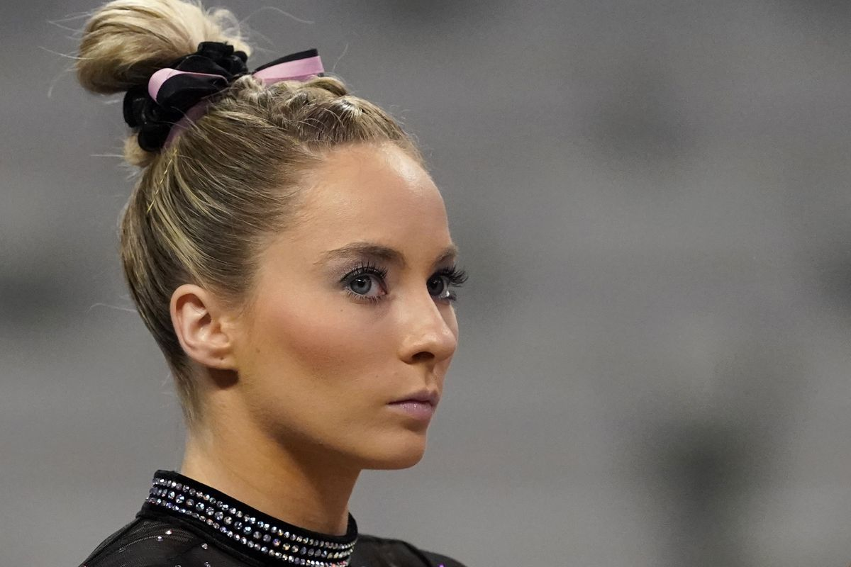 MyKayla Skinner warms up before the start of the U.S. Gymnastics Championships.