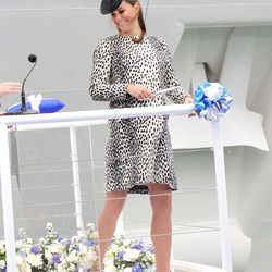 Wearing a Hobbs leopard print shift at a ship-naming ceremony on June 13th, 2013.