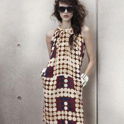 Silk Dress, $79.95; Bracelets, $29.95 each; Sunglasses, $19.95