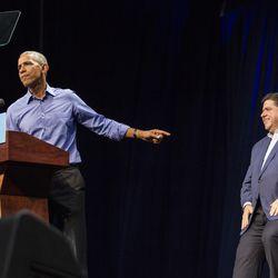 Former President Barack Obama and J.B. Pritzker Sunday. | Ashlee Rezin/Sun-Times