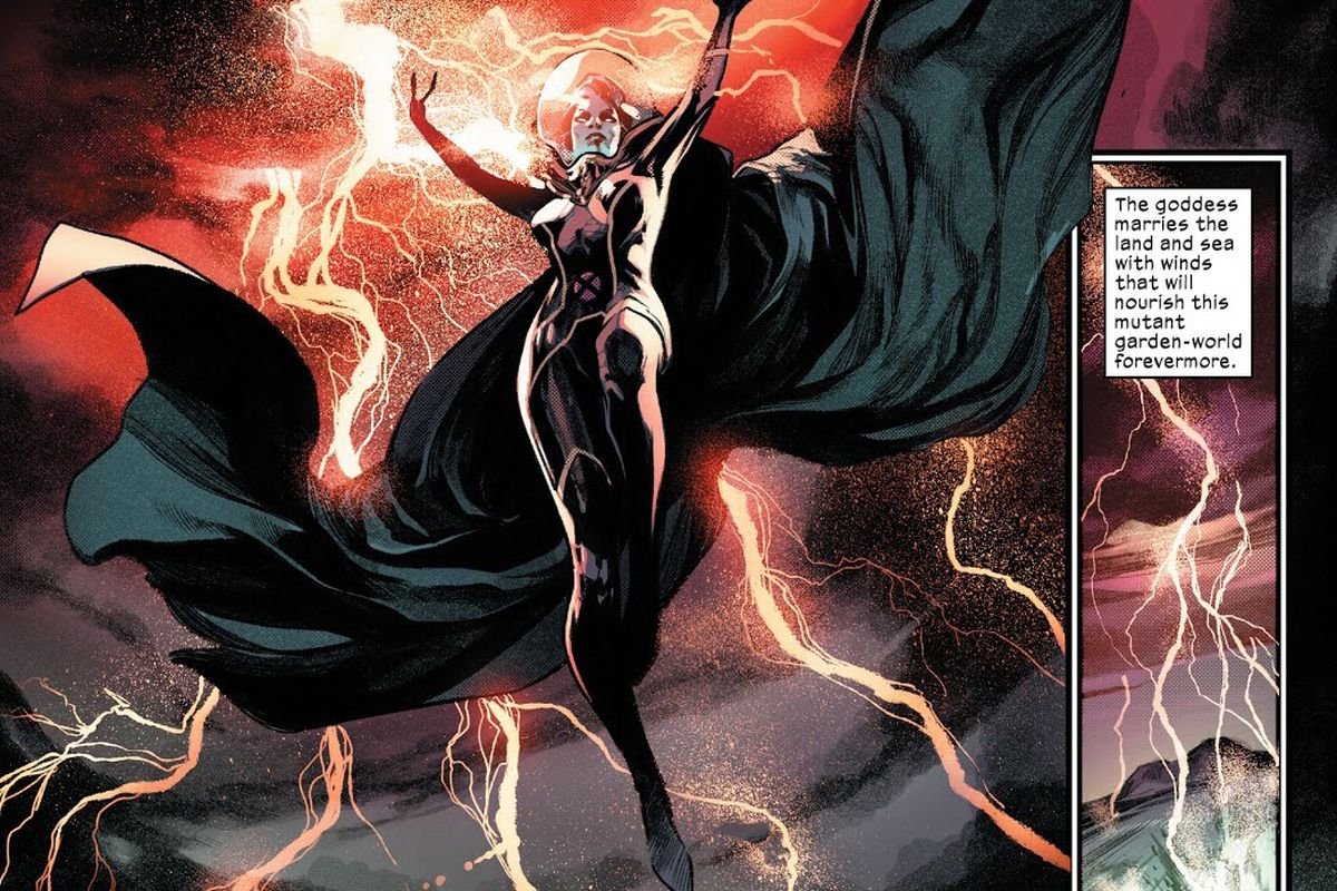 Storm seeds the atmosphere of Mars with weather in Planet-size X-Men #1 (2021).