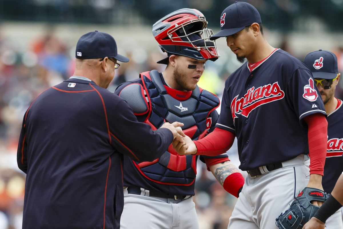 Carlos Carrasco left in the fifth inning, giving up 5 runs on 9 innings.