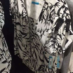 Floral black and ivory top, $89 (was $275)