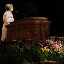 Julie Beck speaks during the 182nd Annual General Conference for The Church of Jesus Christ of Latter-day Saints in Salt Lake City  Sunday, April 1, 2012.
