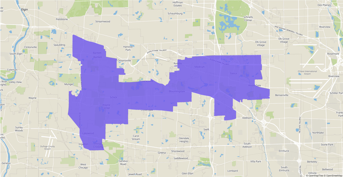 Illinois House 45th District map.