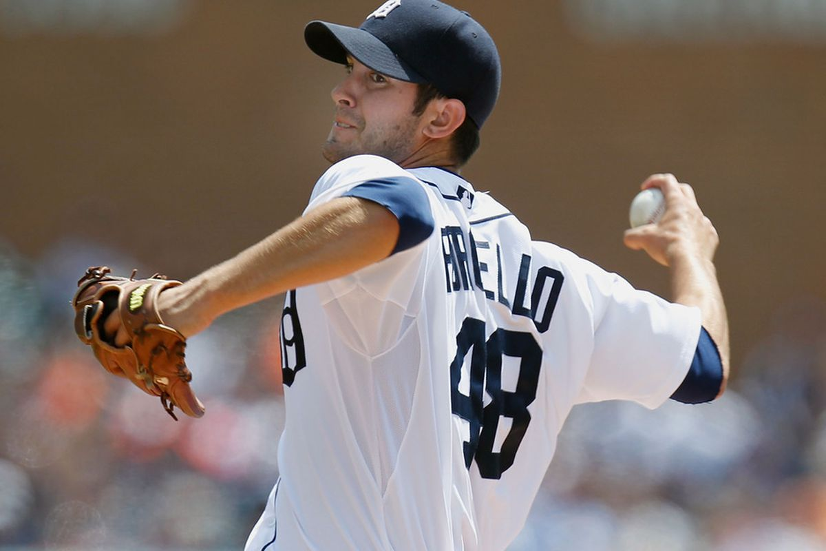 DETROIT, MI - MAY 06: Rick Porcello #48 of the Detroit Tigers throws a fist inning pitch against the Chicago White Sox at Comerica Park on May 6, 2012 in Detroit, Michigan. (Photo by Gregory Shamus/Getty Images)