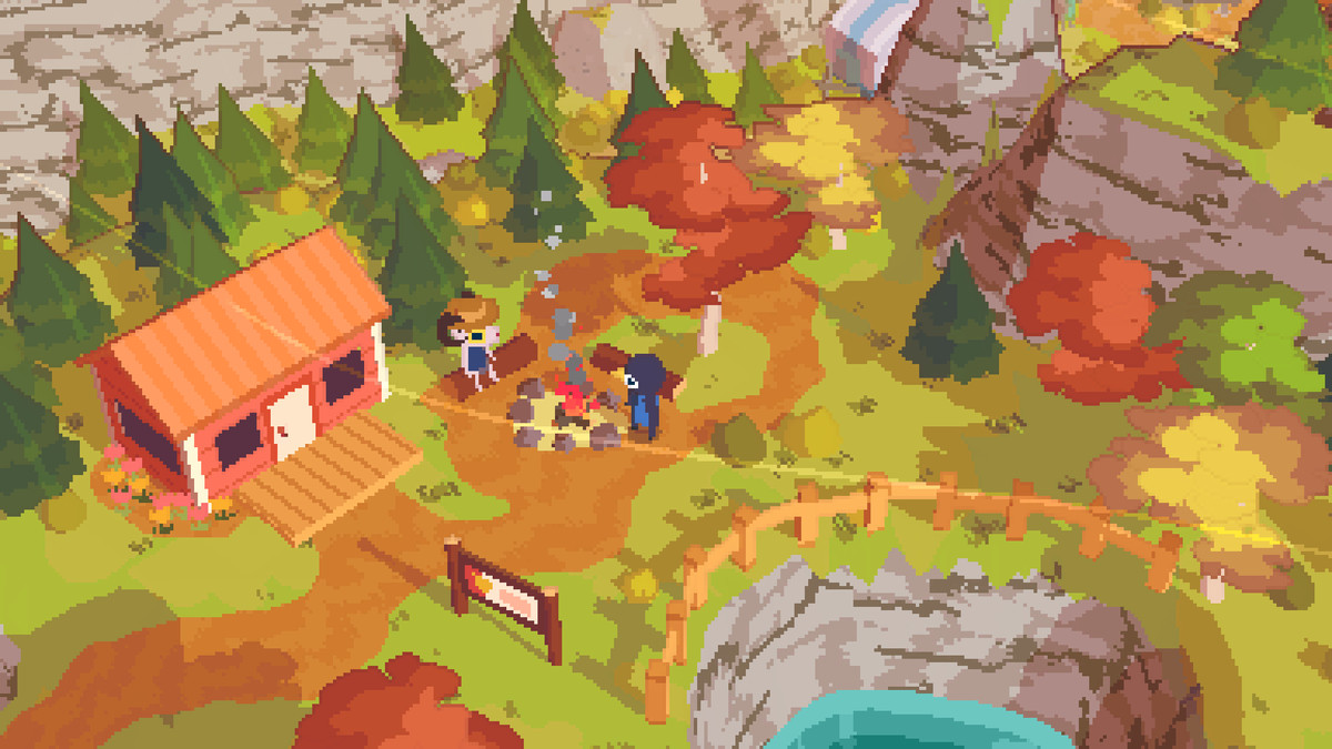 a humanoid bird stands in front of a pixel campfire in A Short Hike