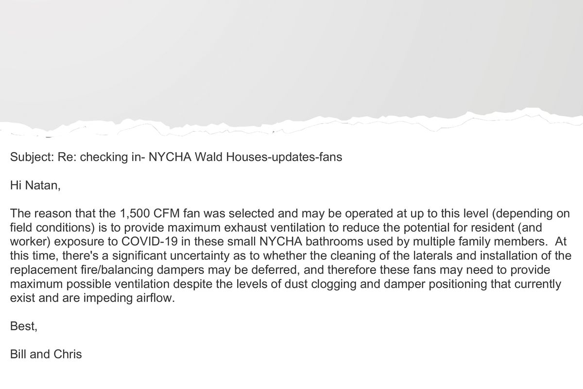 An excerpt of an email sent to NYCHA staff warning about poor ventilation potentially exacerbating the spread of COVID-19