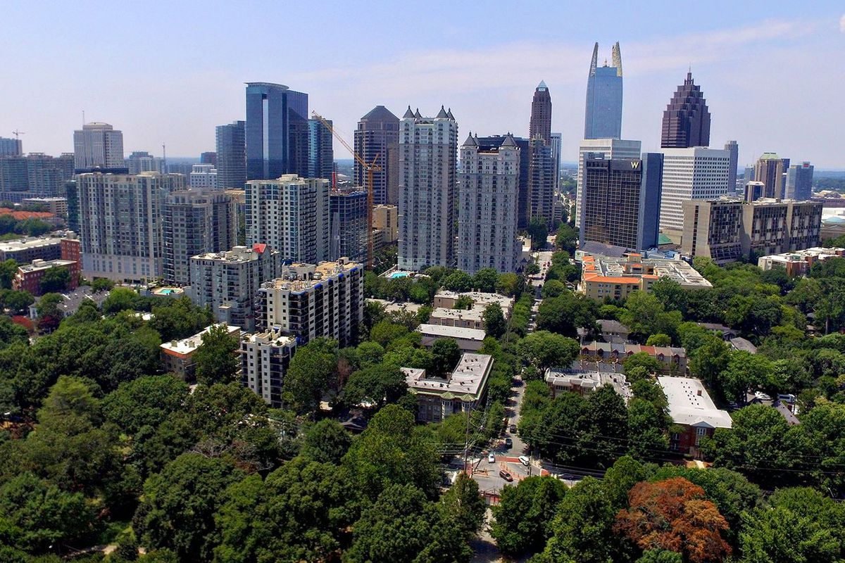 Panoramic view of the Atlanta skyline.