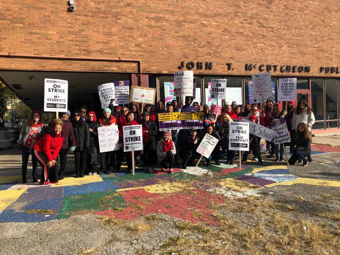 Teachers at McCutcheon Elementary School in Uptown on the second day of the Chicago teacher strike, Oct. 18, 2019. Many McCutcheon students are homeless.