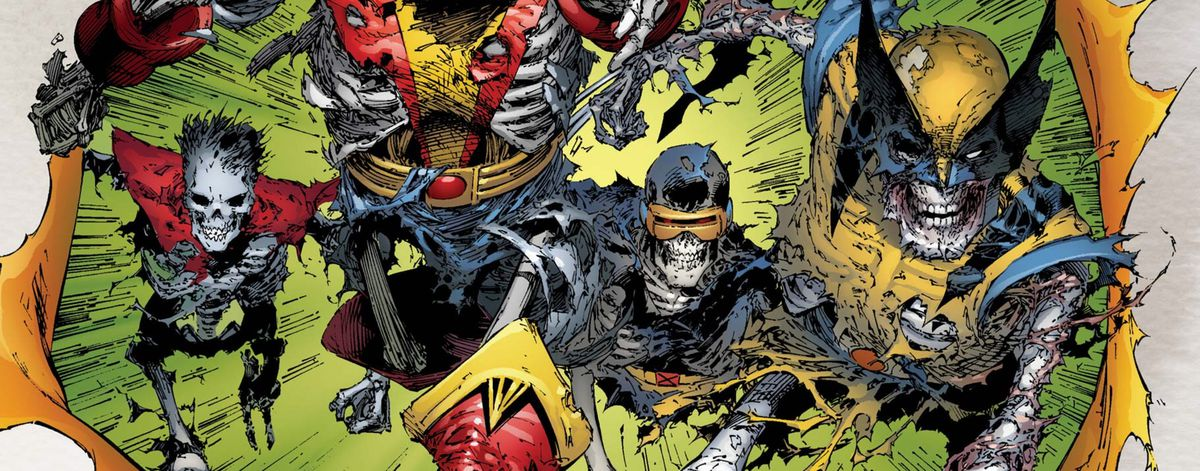Macabre skeletal versions of Cyclops, Wolverine, and other X-Men charge at the viewer, from the cover of X-Men: Deadly Genesis #1, Marvel Comics (2005).