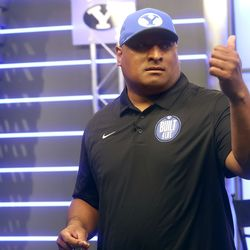 Kalani Sitake, BYU's head football coach, gives a thumbs-up during BYU football media day at the BYU Broadcasting Building in Provo on Thursday, June 17, 2021.