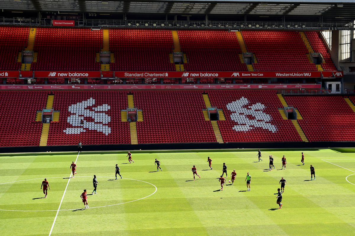 General view during a training session at Anfield on June 01, 2020 in Liverpool, England.