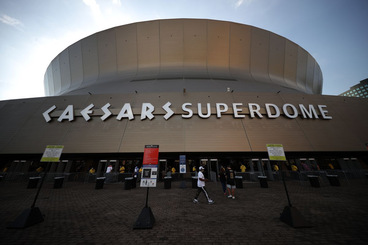 An exterior view of the Caesars Superdome on August 23, 2021 in New Orleans, Louisiana.