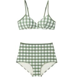 Perhaps a bikini in an olive green and cream gingham for your upcoming weekend getaway.
