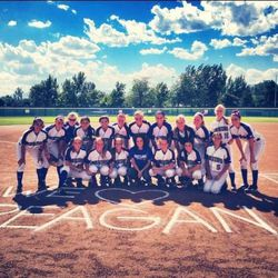 The SLCC softball team with Reagan during a ceremony to make her an honorary member of the team.