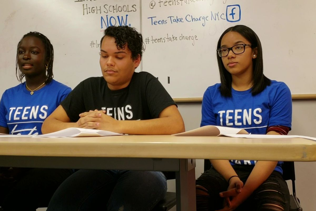 """Teens Take Charge members at a """"virtual"""" press conference in New York City on Thursday"""