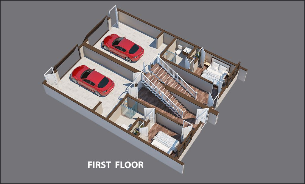 As shown in a rendering, theFirst FloorGarage street level has a Functional Living Space – a Finished Bedroom and Full Bath. The Garage has an option for a charging station for Electric Vehicles.