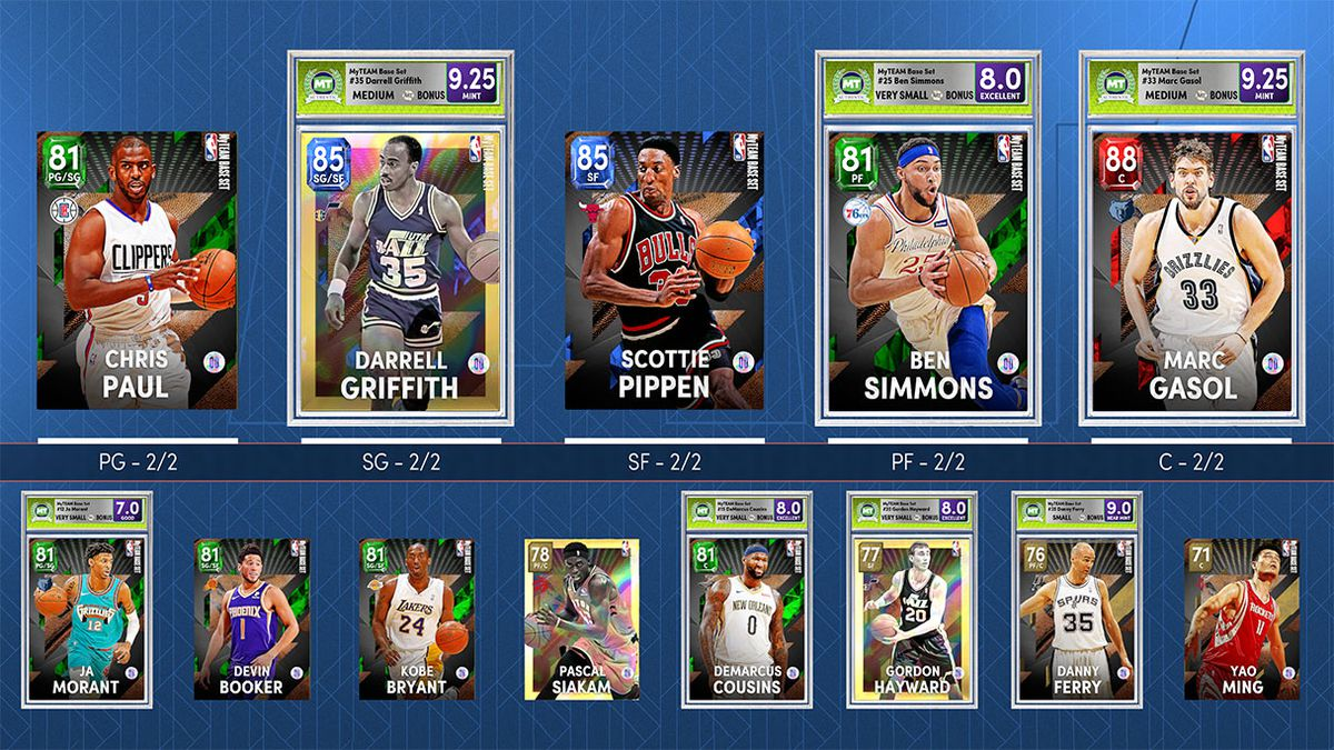 MyTeam mode lineup page.