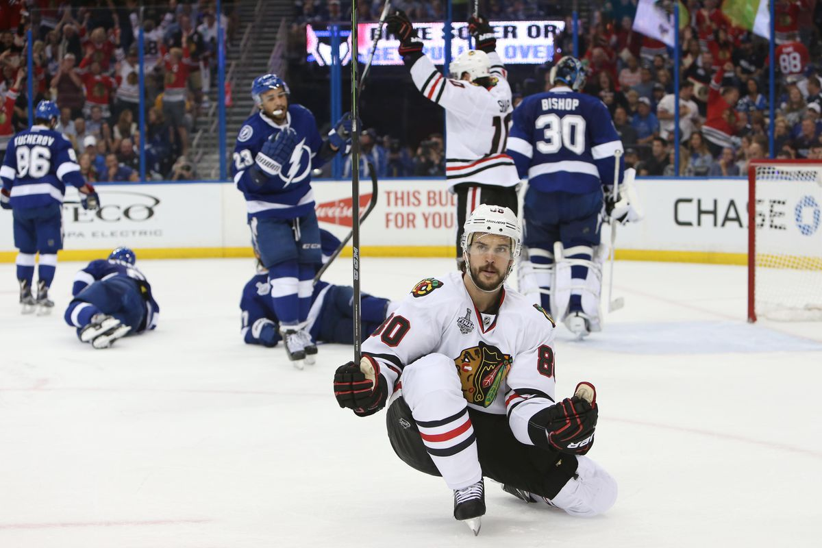 Chicago's Antoine Vermette celebrates his game winning goal in Game 1 of the 2015 Stanley Cup Final Wednesday in Tampa.