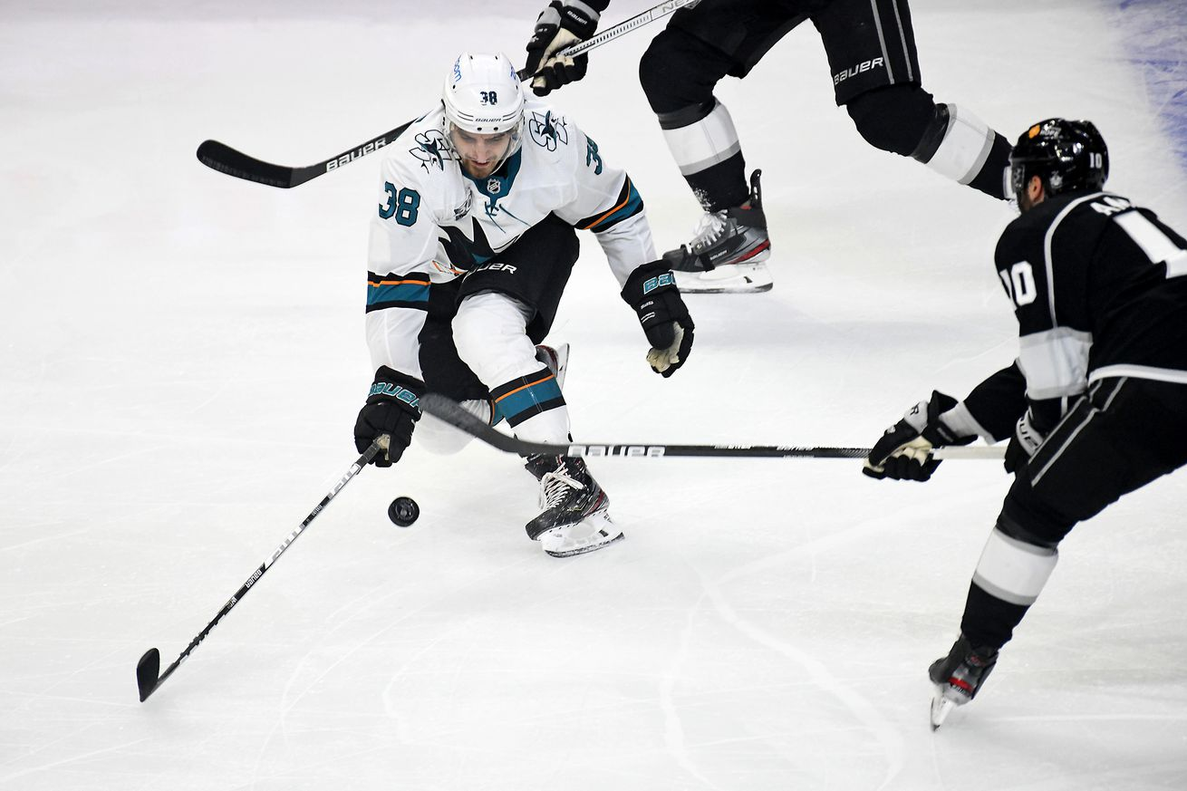 San Jose Sharks Defenceman Mario Ferraro (38) attempts to block the shot of Los Angeles Kings Center Michael Amadio (10) during the first period on February 10, 2021 at the Staples Center in Los Angeles, CA.