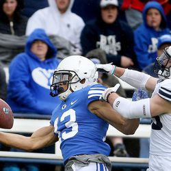 BYU's Micah Simon makes a one-handed catch before Beau Tanner can get to him during the Blue-White game at LaVell Edwards Stadium in Provo on Saturday, April 7, 2018.