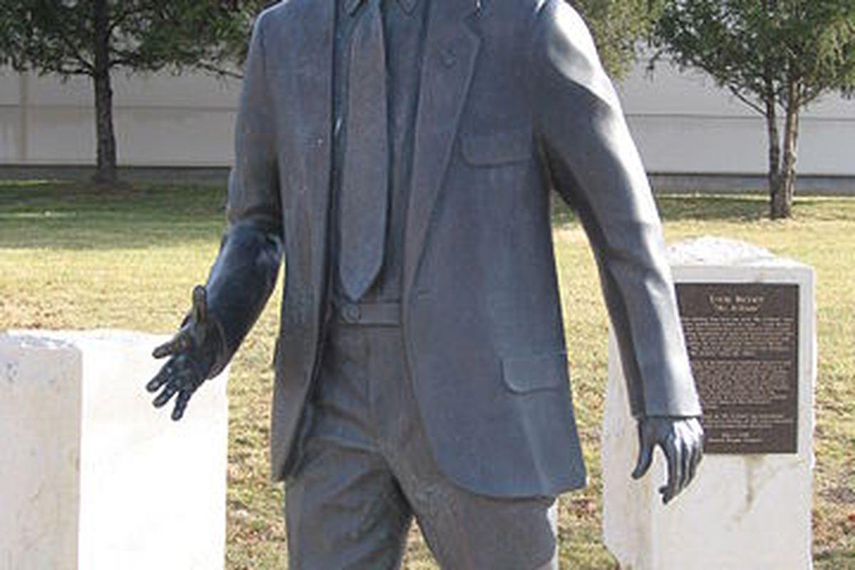 "Ernie Barrett.  The man has a statue.  That's pretty important, coach.  (via <a href=""http://upload.wikimedia.org/wikipedia/en/thumb/7/75/ErnieBarrett.JPG/360px-ErnieBarrett.JPG"">kgwo1972 at Wikimedia</a>; public domain)"