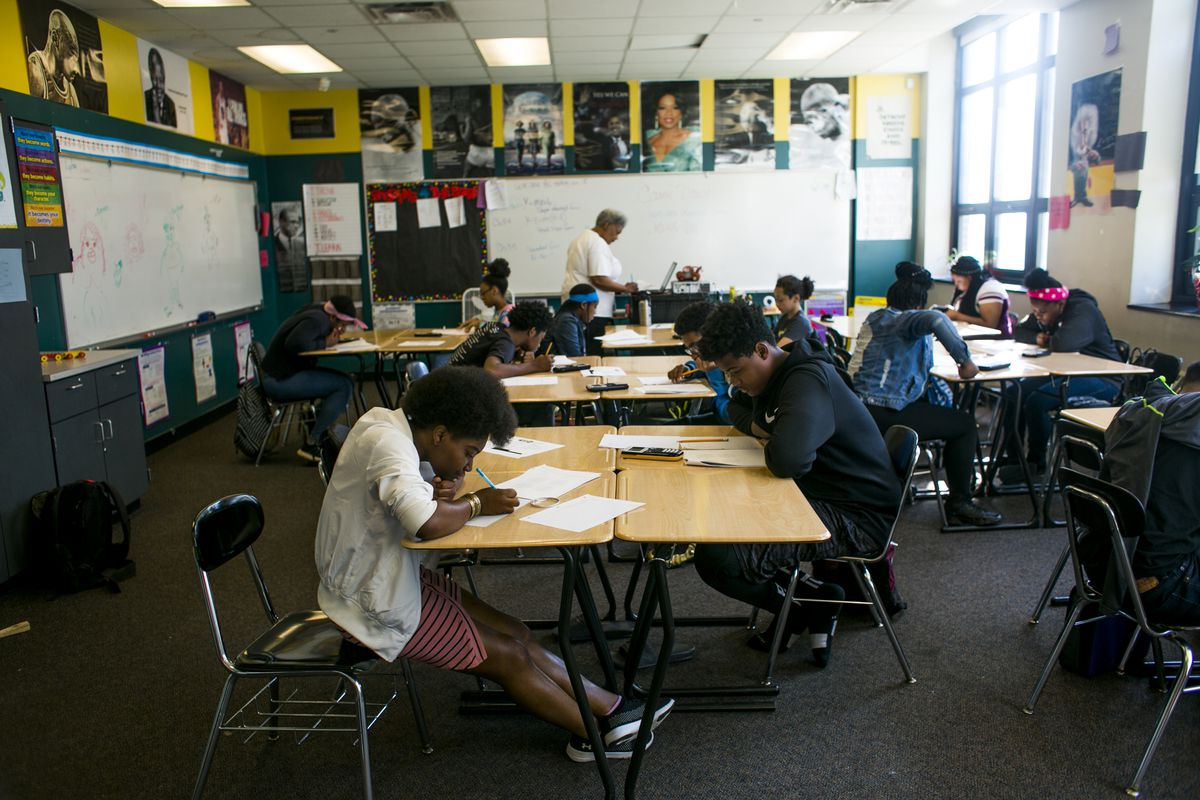 Students at work in a math class at Southeastern High School in Detroit, MI. Photo by Anthony Lanzilote/Chalkbeat �June, 2019 photo�