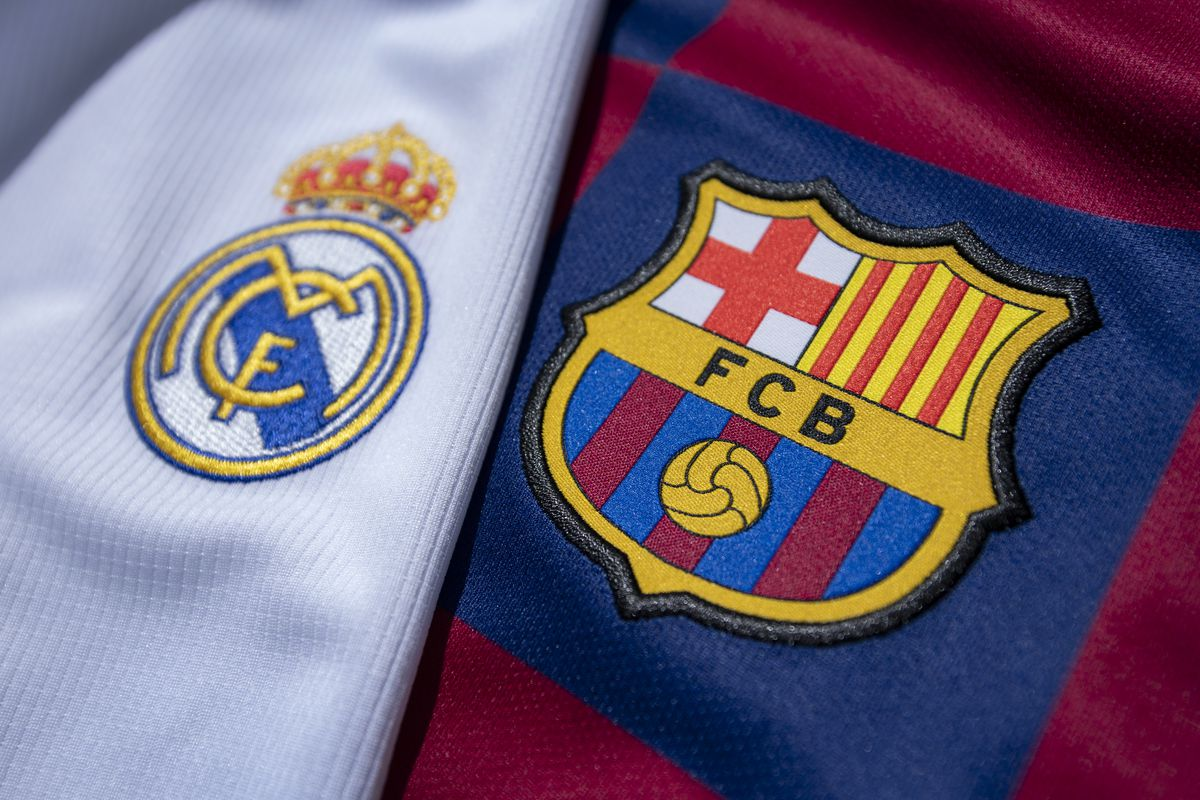 The FC Barcelona and Real Madrid Club Badges