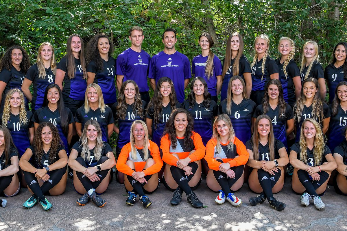 The 2018 Westminster Griffins women's soccer team poses for a photo.