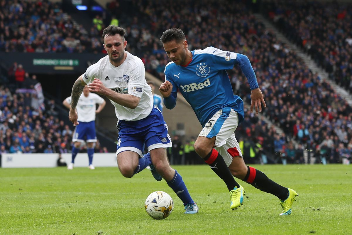 Harry Forrester in action in the Petrofac Cup final win over Peterhead