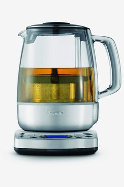A stainless steel electric tea kettle