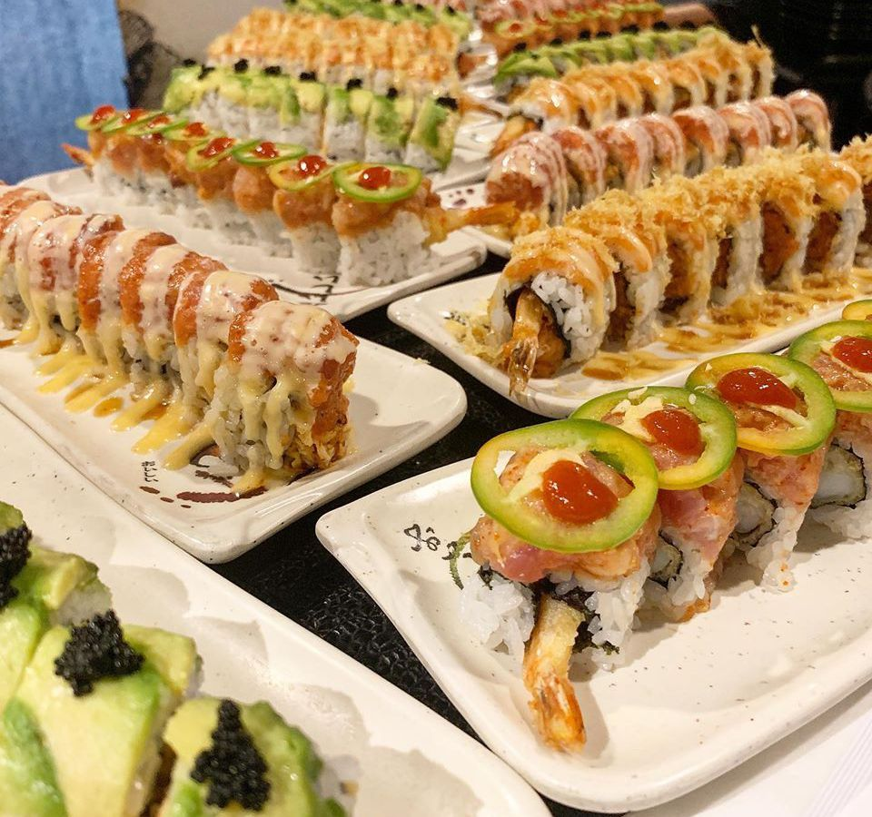 Large display of sushi rolls