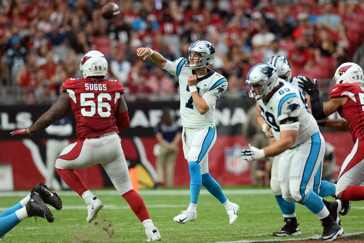 Carolina Panthers quarterback Kyle Allen throws a pass against the Arizona Cardinals during the second half at State Farm Stadium.