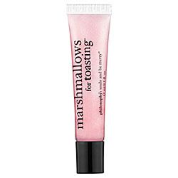 """<a href=""""http://sephora.com/browse/product.jhtml?id=P297557&categoryId=B70"""" rel=""""nofollow"""">Philosophy Marshmallows for Toasting Lip Shine</a>, $10"""