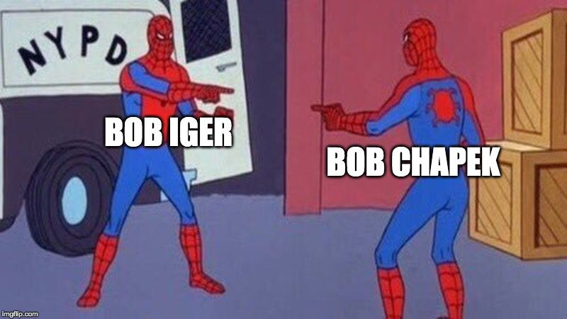 two spidermen pointing at one another with BOB CHAPEK and BOB IGER written over