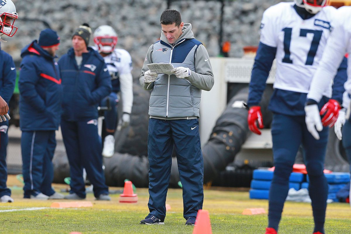 (01/04/2017- Foxboro, MA) New England Patriots director of player personnel Nick Caserio reviews notes at practice at Gillette Stadium on Wednesday, January 4, 2017. Staff Photo by Matt West