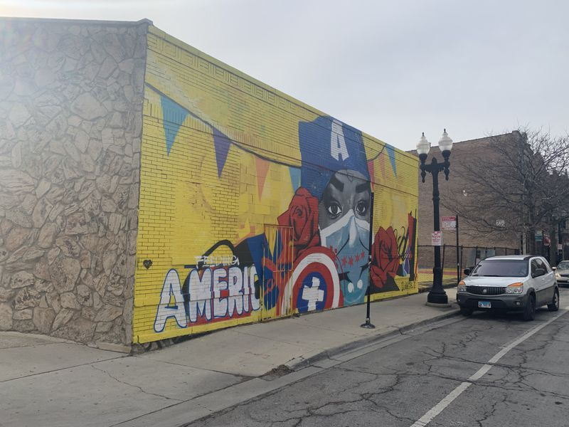 A mural honoring medical workers during the pandemic was completed by Dwight White II at Ogden Avenue and Taylor Street earlier this year.
