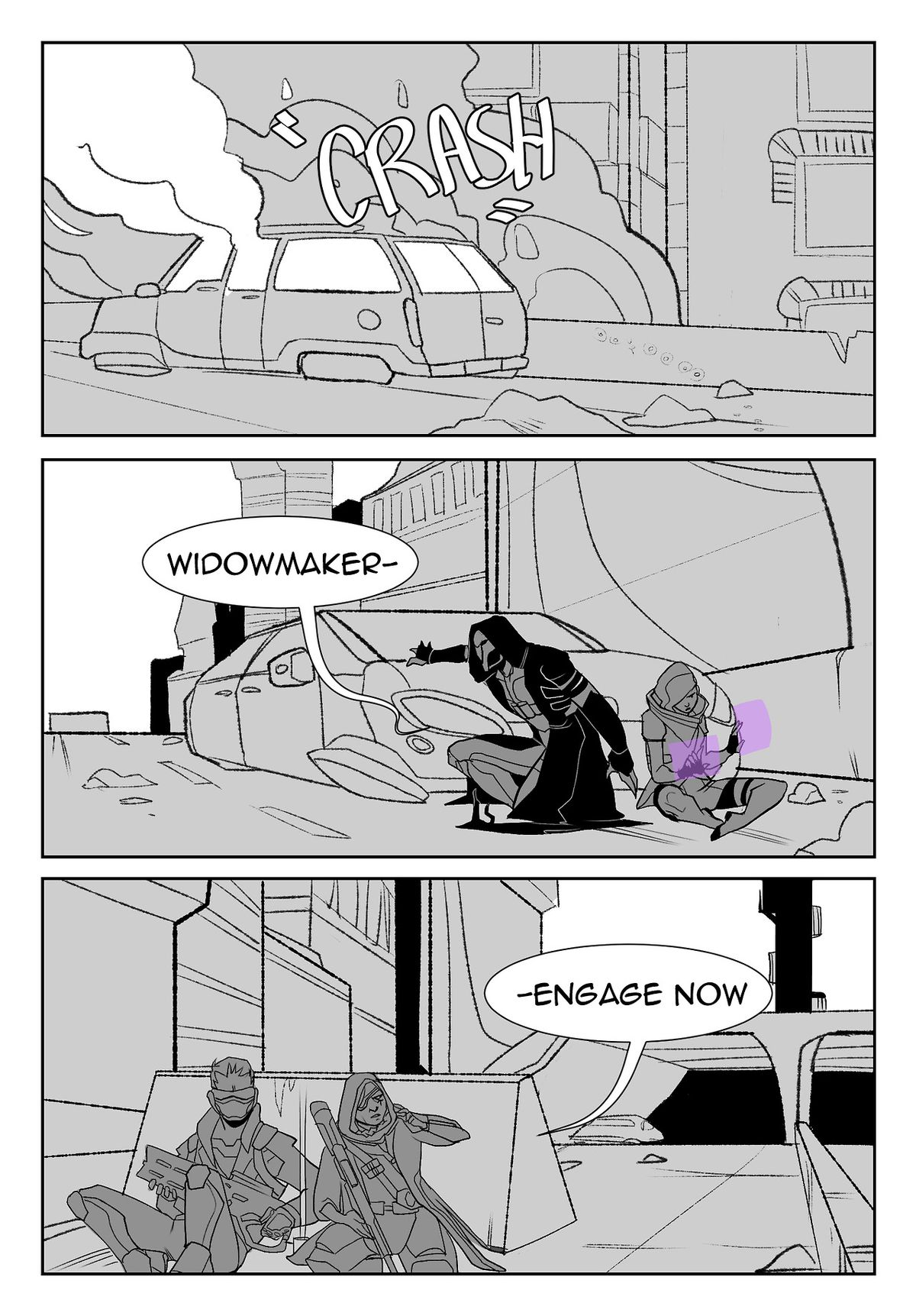 Talon and Overwatch remain mortal enemies in this AU.